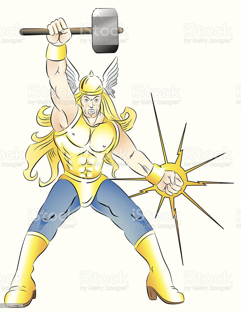 Mighty Hammer of Thor vector art illustration