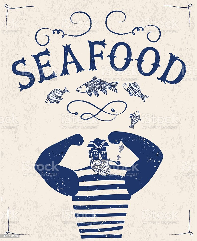 Sailor stock photos illustrations and vector art - Mighty Sailor Fisherman Royalty Free Stock Vector Art