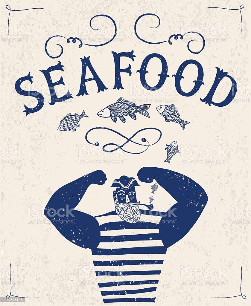 Mighty sailor fisherman vector art illustration