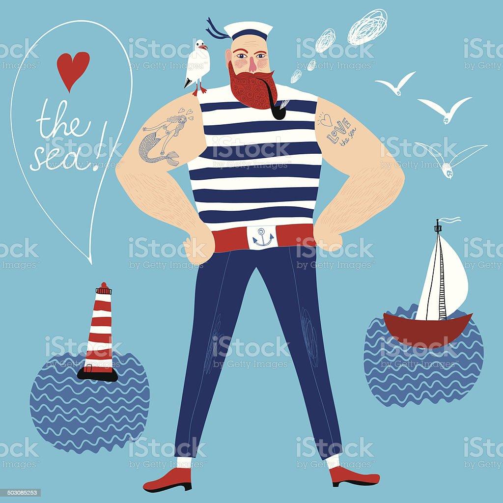 Mighty sailor vector art illustration