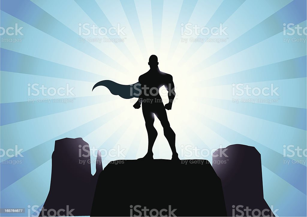 Mighty Superhero Silhouette vector art illustration