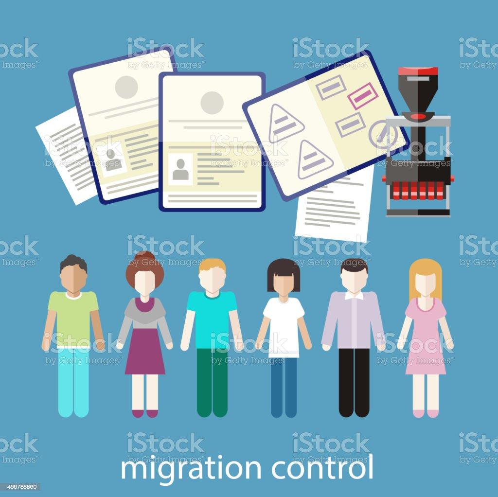 Migration control vector art illustration