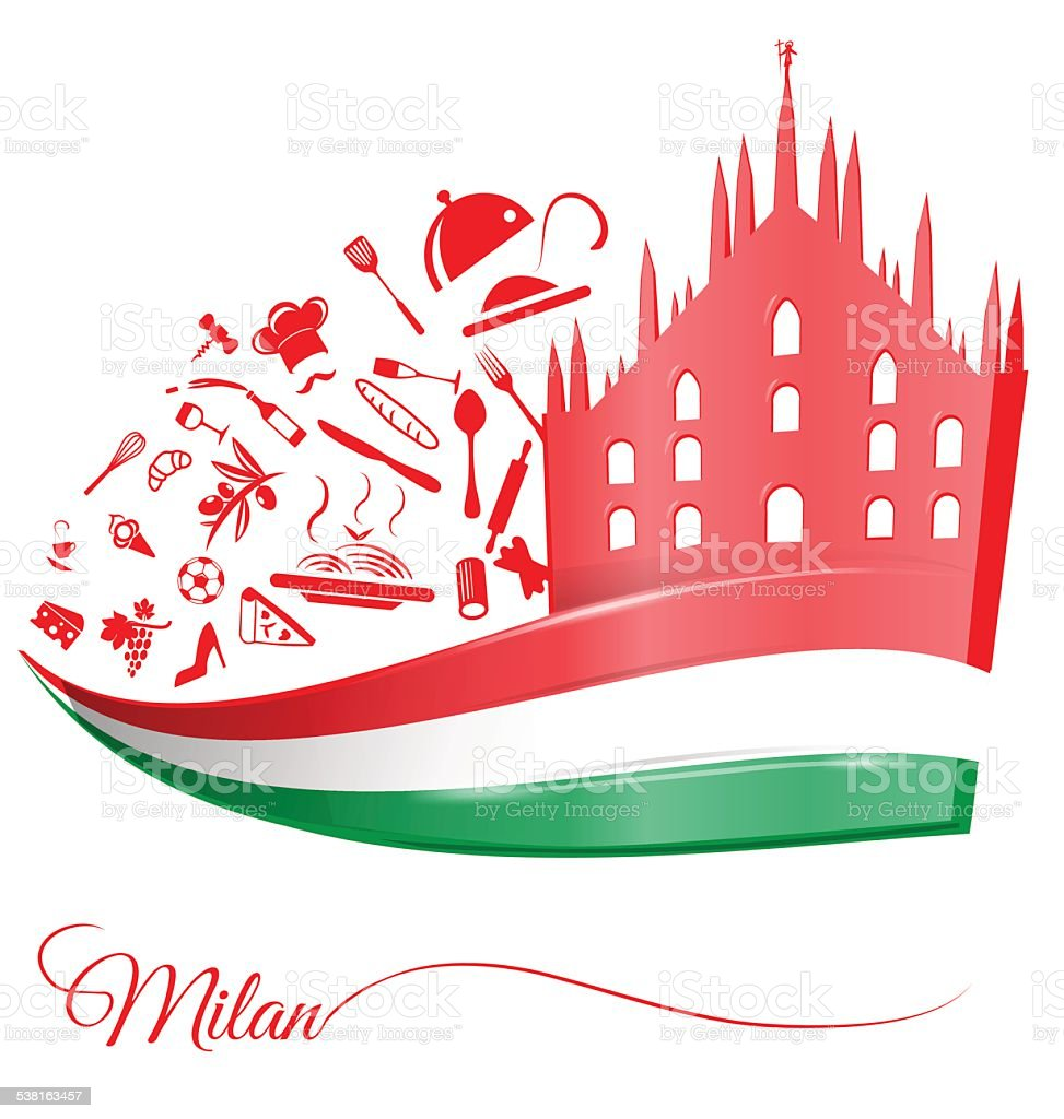 milan cathedral with food element on italian flag vector art illustration