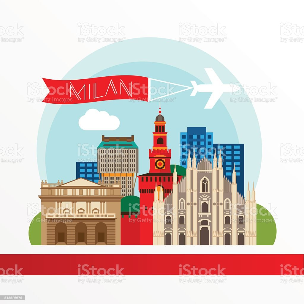 Milan detailed colorful landmarks. vector art illustration
