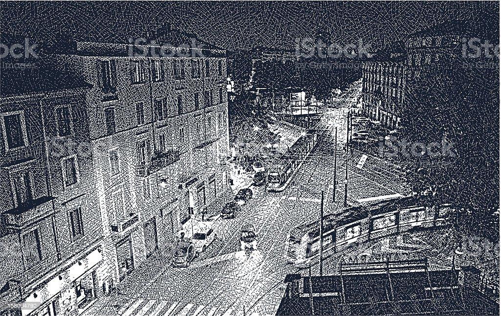 Milan Street At Night royalty-free stock vector art