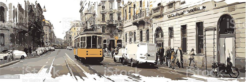 milan vector art illustration