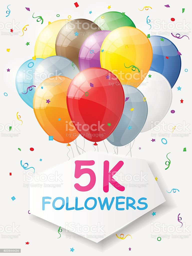 Milestone 5000 Followers. Background with balloons. vector art illustration