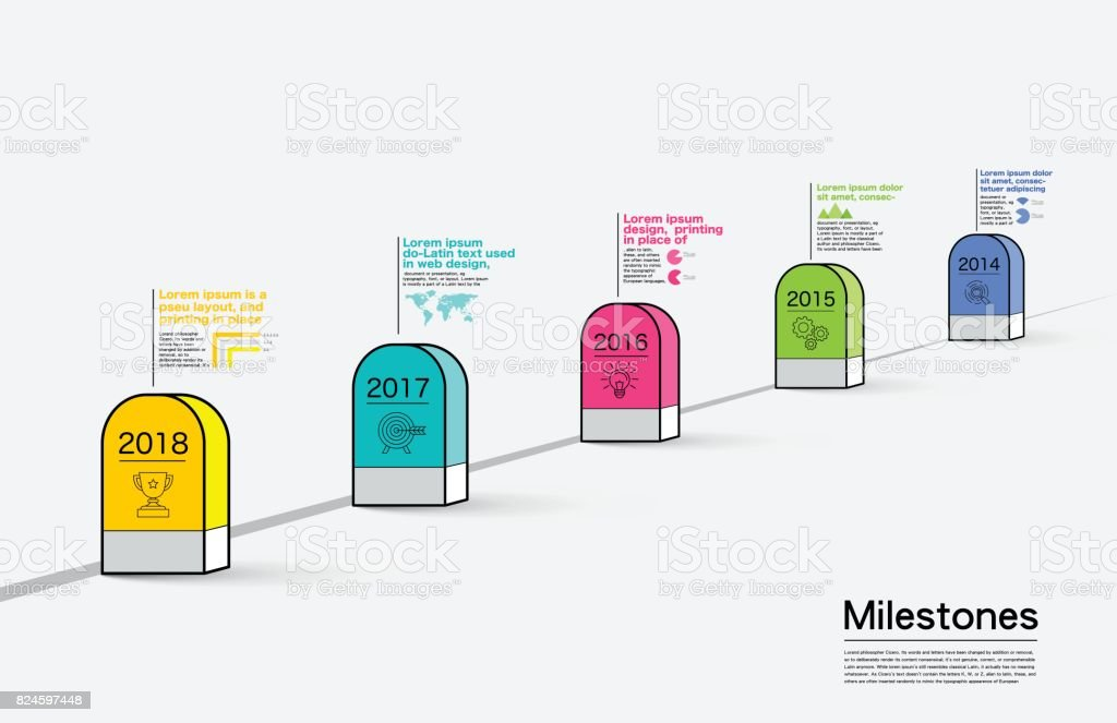 Milestone Company, Infographic Vector. vector art illustration