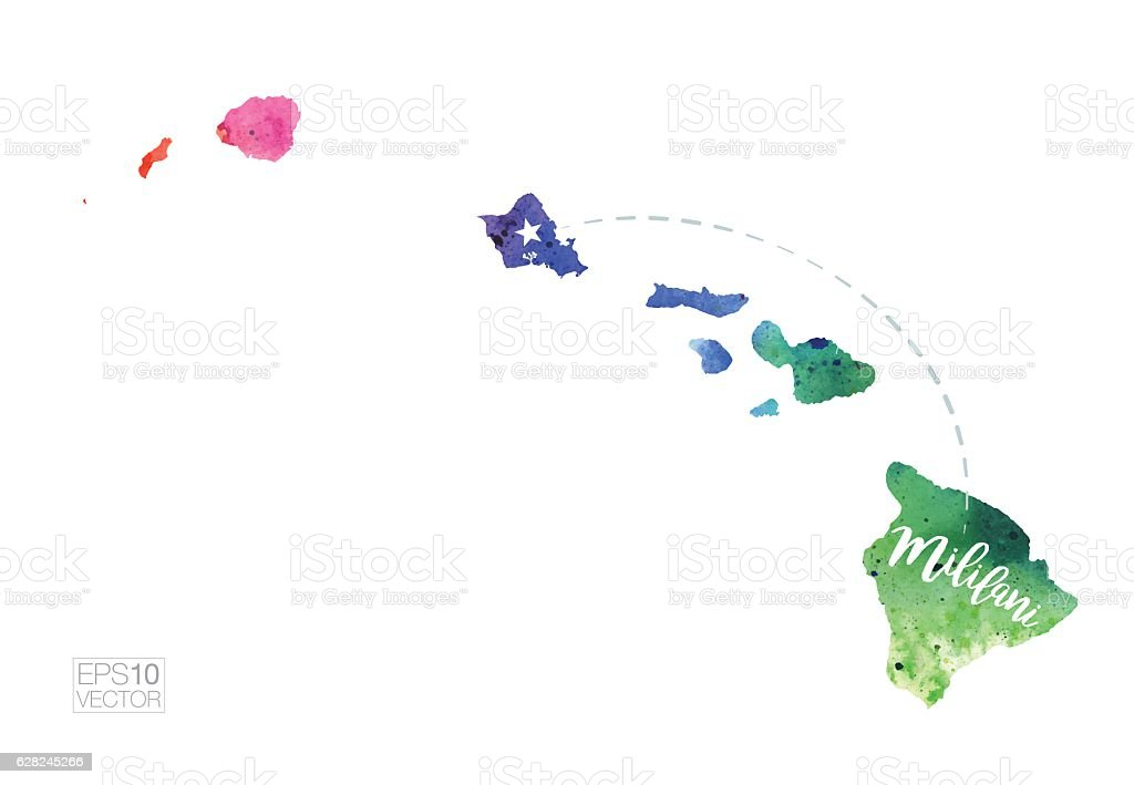 Mililani, Hawaii Vector Watercolor Map vector art illustration