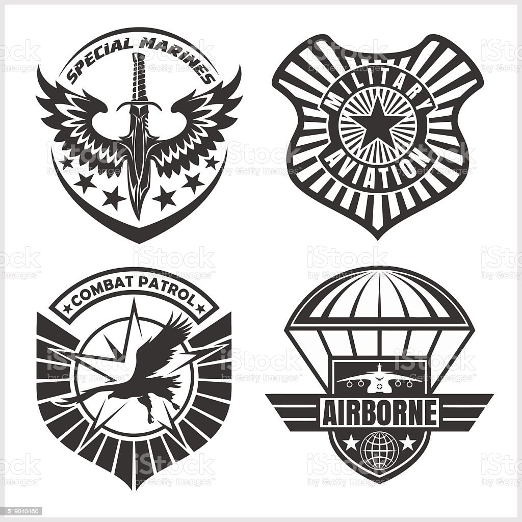 Military airforce patch set - armed forces badges and labels vector art illustration