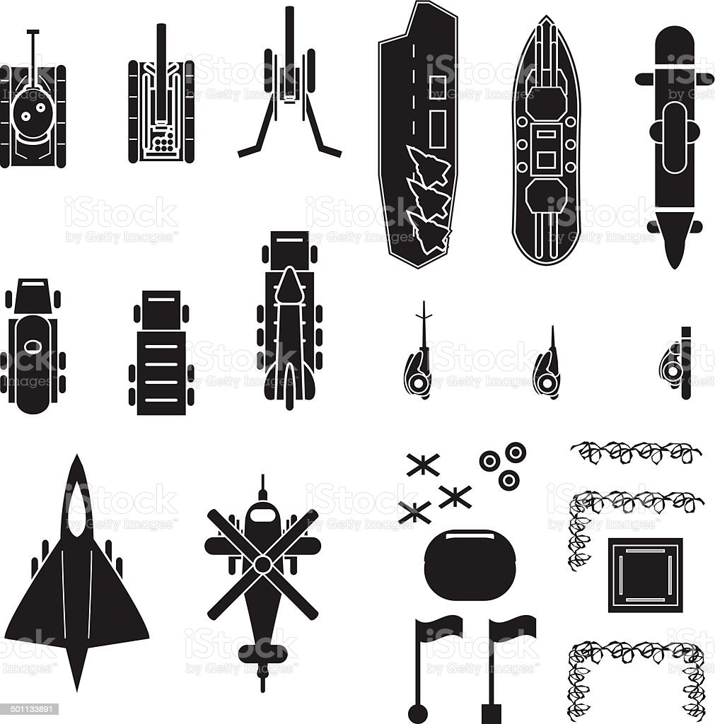 Military and army icons top view for planing and map positioning vector art illustration