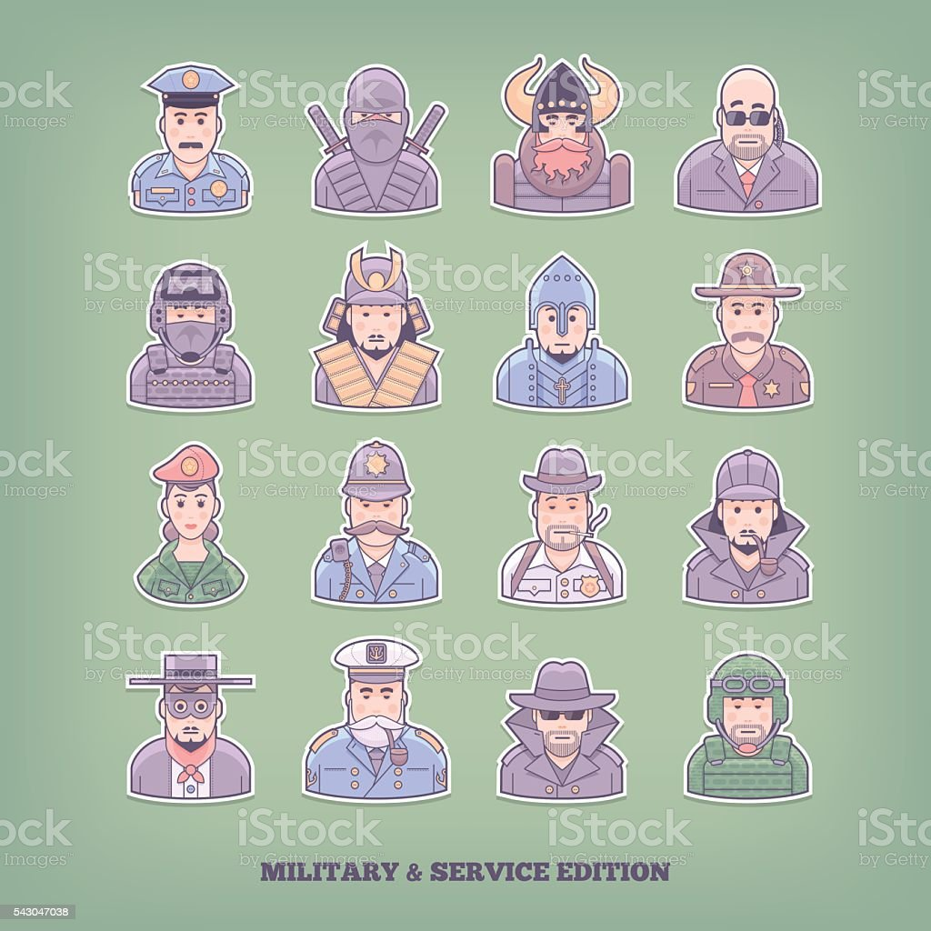 Military and enforcement design elements. Flat concept vector illustration. vector art illustration