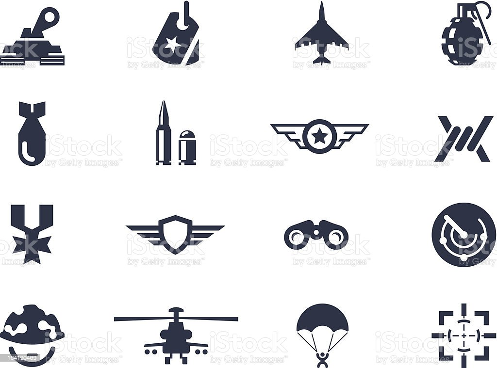 Military and war icons royalty-free stock vector art