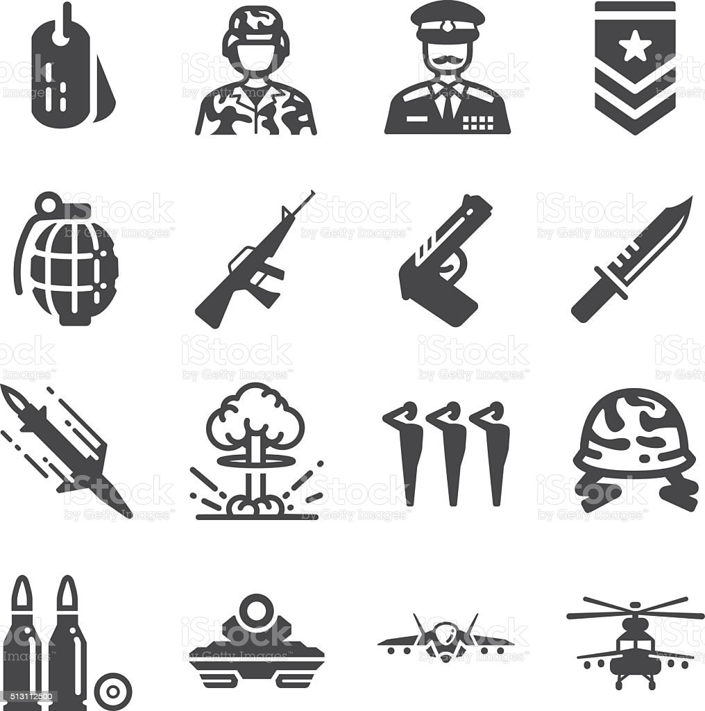 Military and war icons vector art illustration