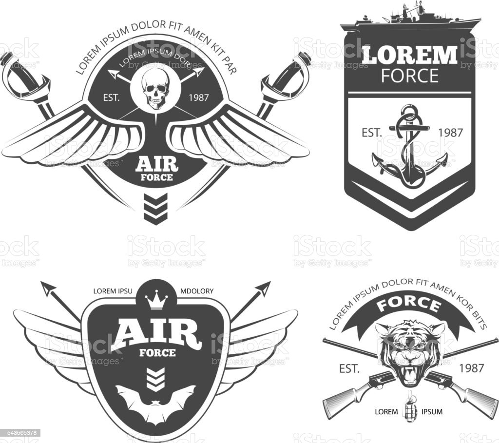 Military, armored vehicles, airforce, navy vintage vector labels vector art illustration