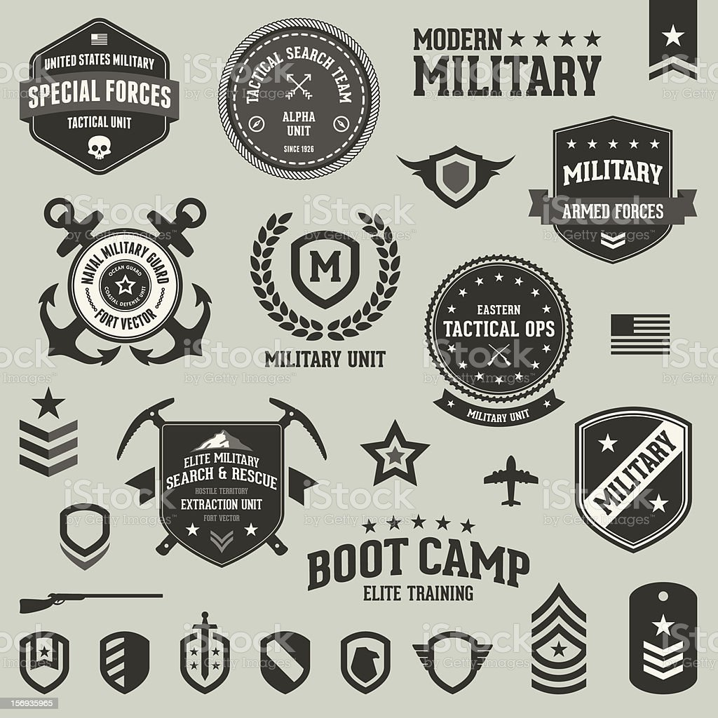 Military badges and symbols vector art illustration