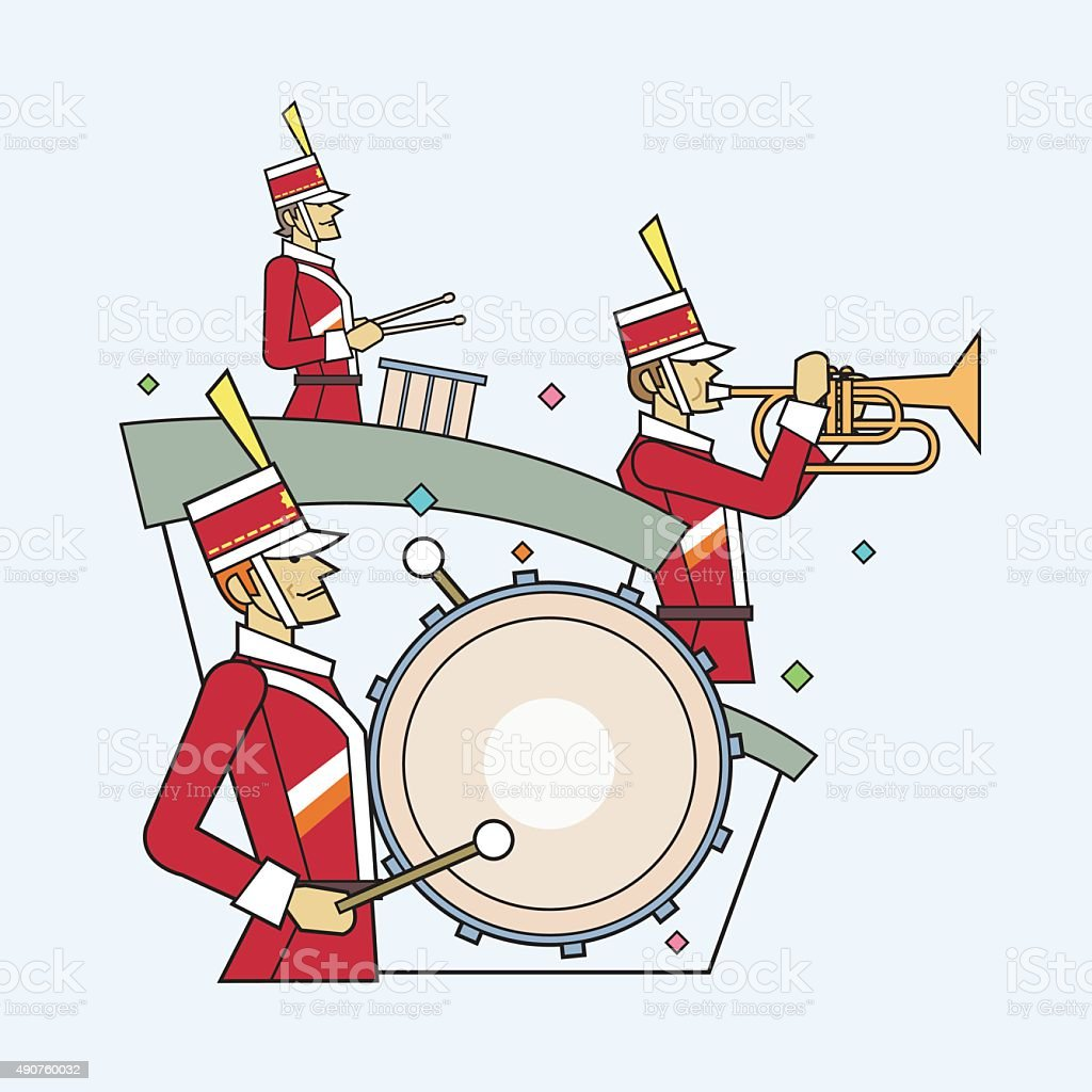 Military band line style, Vector illustration vector art illustration