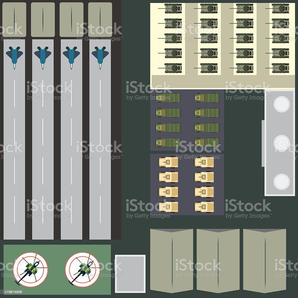 Military base vector art illustration