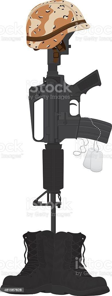 Military Battle Cross, Camouflage Helmet and Machine Gun vector art illustration