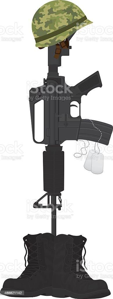 Military Battle Cross, Helmet and Machine Gun vector art illustration