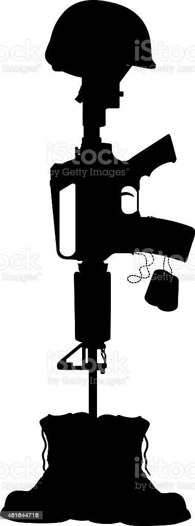 Military Battle Cross, Helmet, Machine Gun and Dog Tag vector art illustration