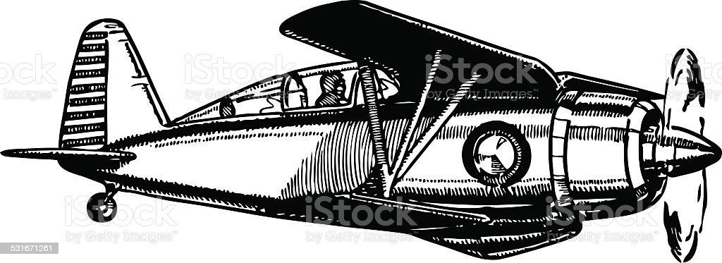 Military biplane aircraft in flight. vector art illustration