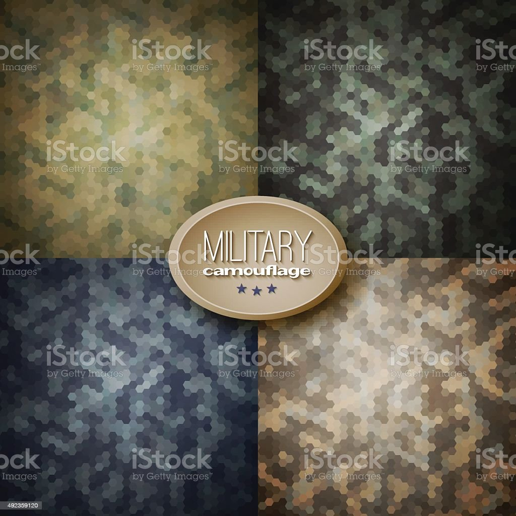 Military camouflage backgrounds (jungle, woodland, blueberries, vector art illustration