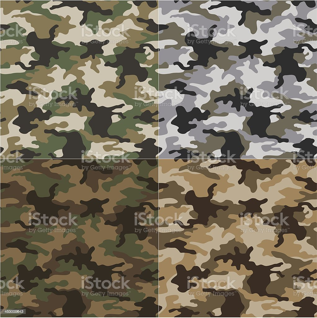 Military camouflage patterns of different shades vector art illustration