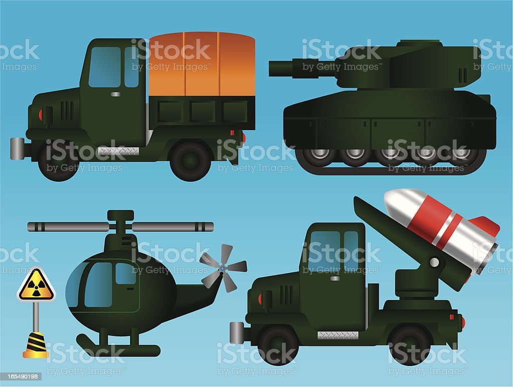 Military Car Collection vector art illustration