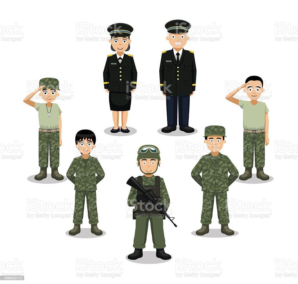 Military Characters Cartoon Vector Illustration vector art illustration