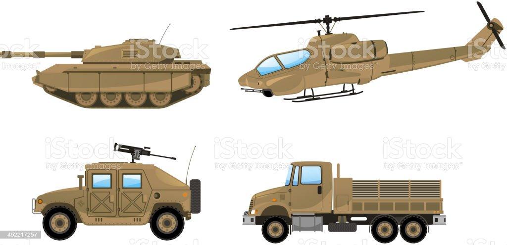 Military Desert Tank helicopter trunk land vehicle vector art illustration