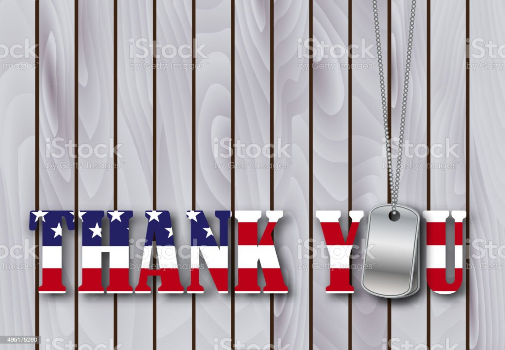 military dog tag thank you with flag vector art illustration