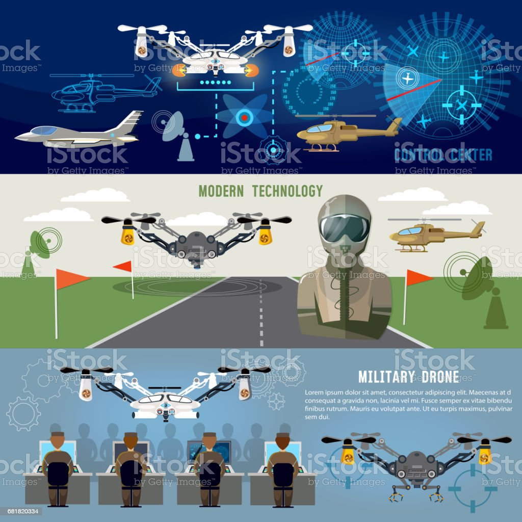 Military drone, mdern army aviation and weapons. Fighting flying robots, war technology of future. Fighter aircraft, helicopters, quadrocopters military drones, powerful army control center vector art illustration