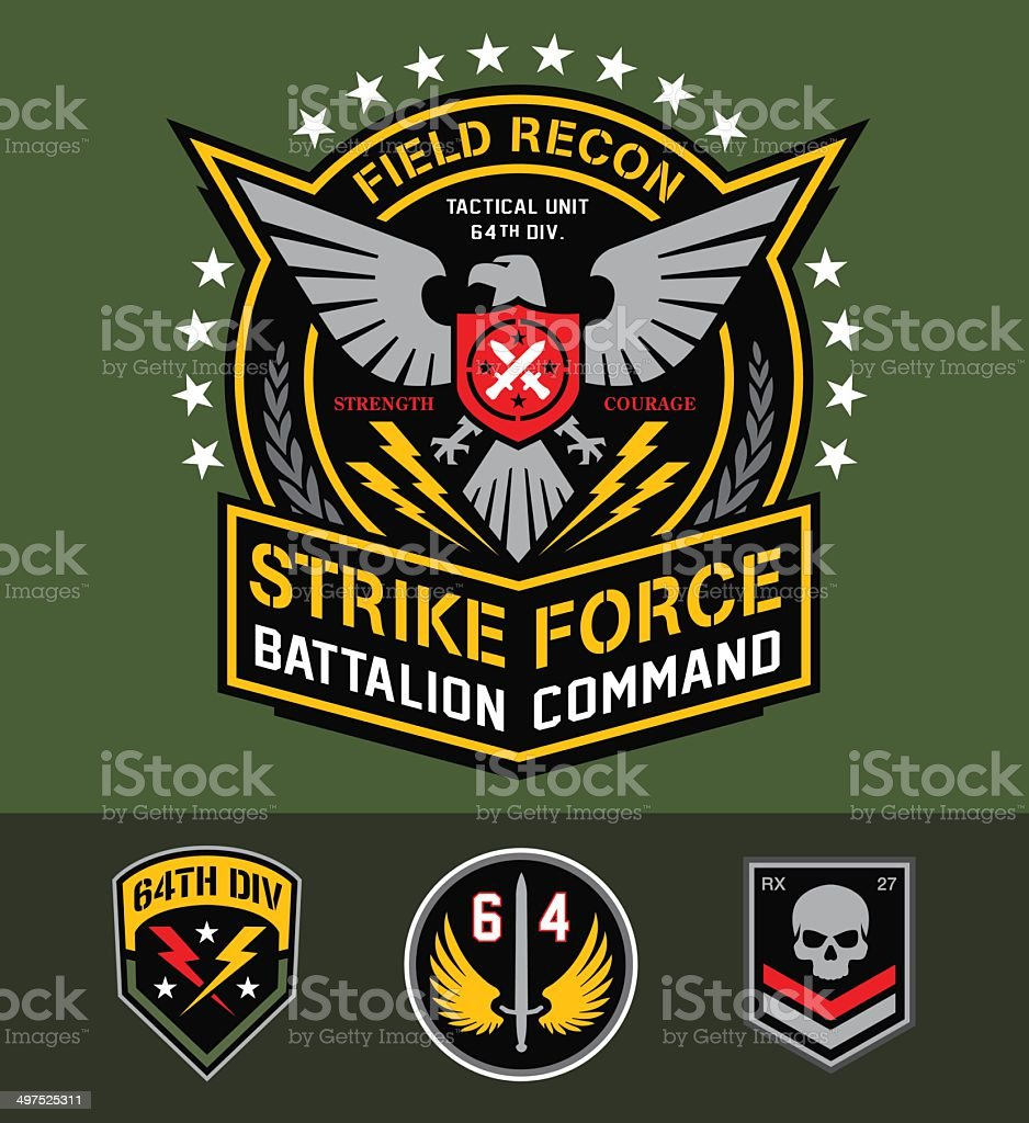 Military eagle graphic set vector art illustration