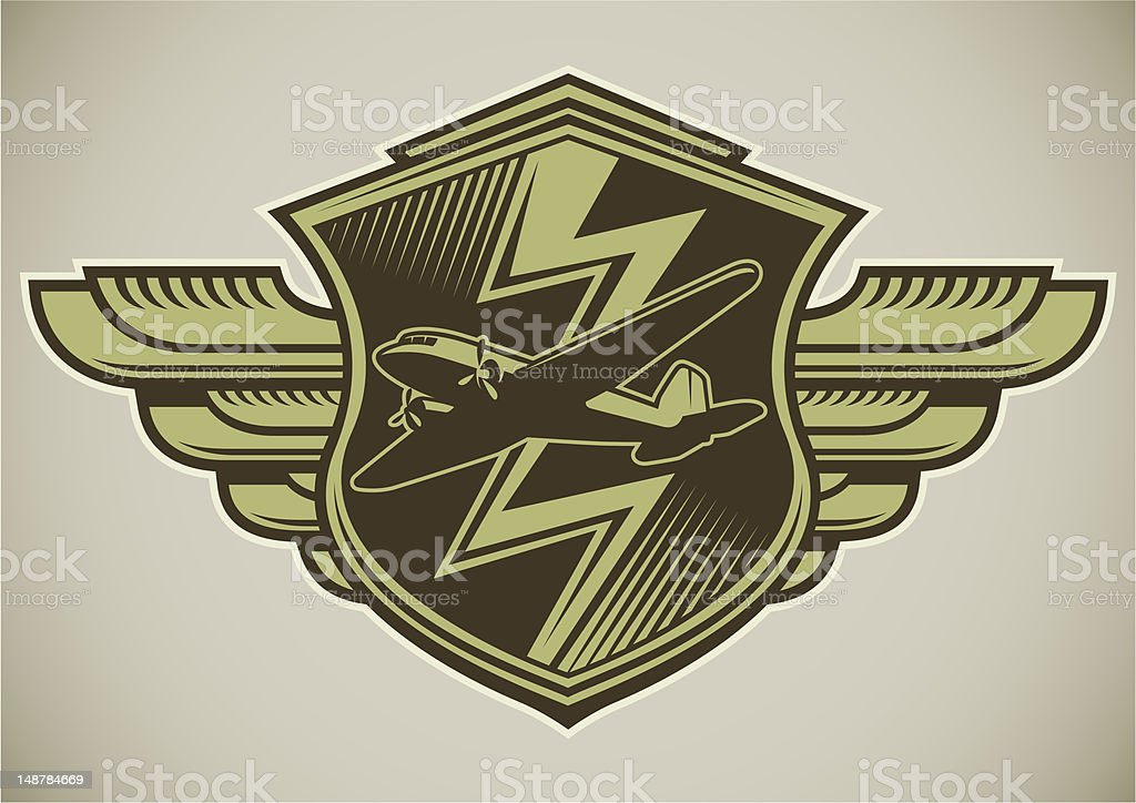 Military emblem with airplane. royalty-free stock vector art