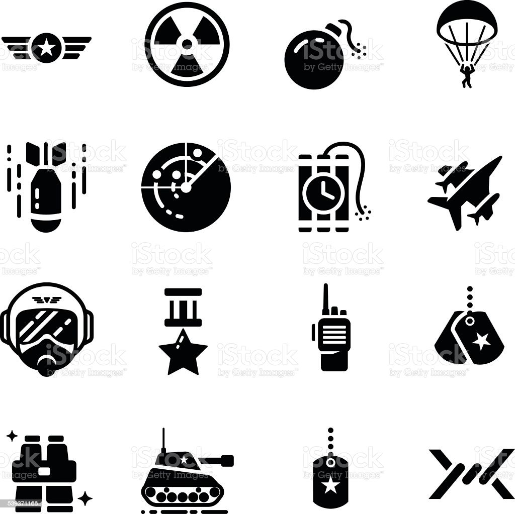 Military Equipment Accessories Vector Icon Set vector art illustration