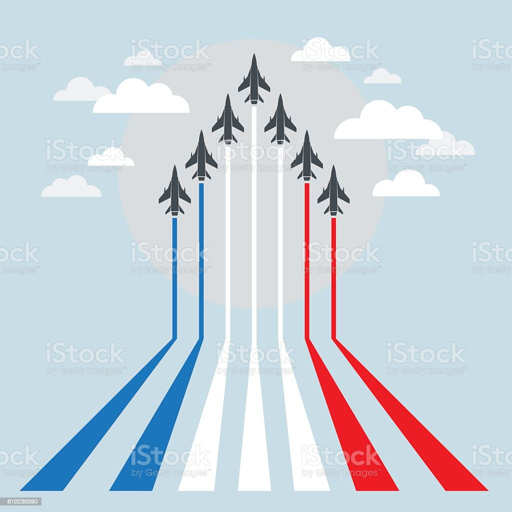 Military Fighter Jets during Demonstration vector art illustration