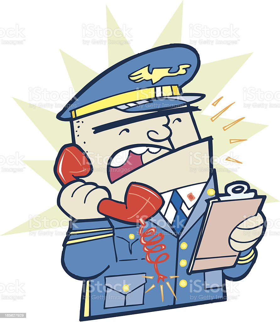 Military General on Phone Cartoon with Clipboard royalty-free stock vector art