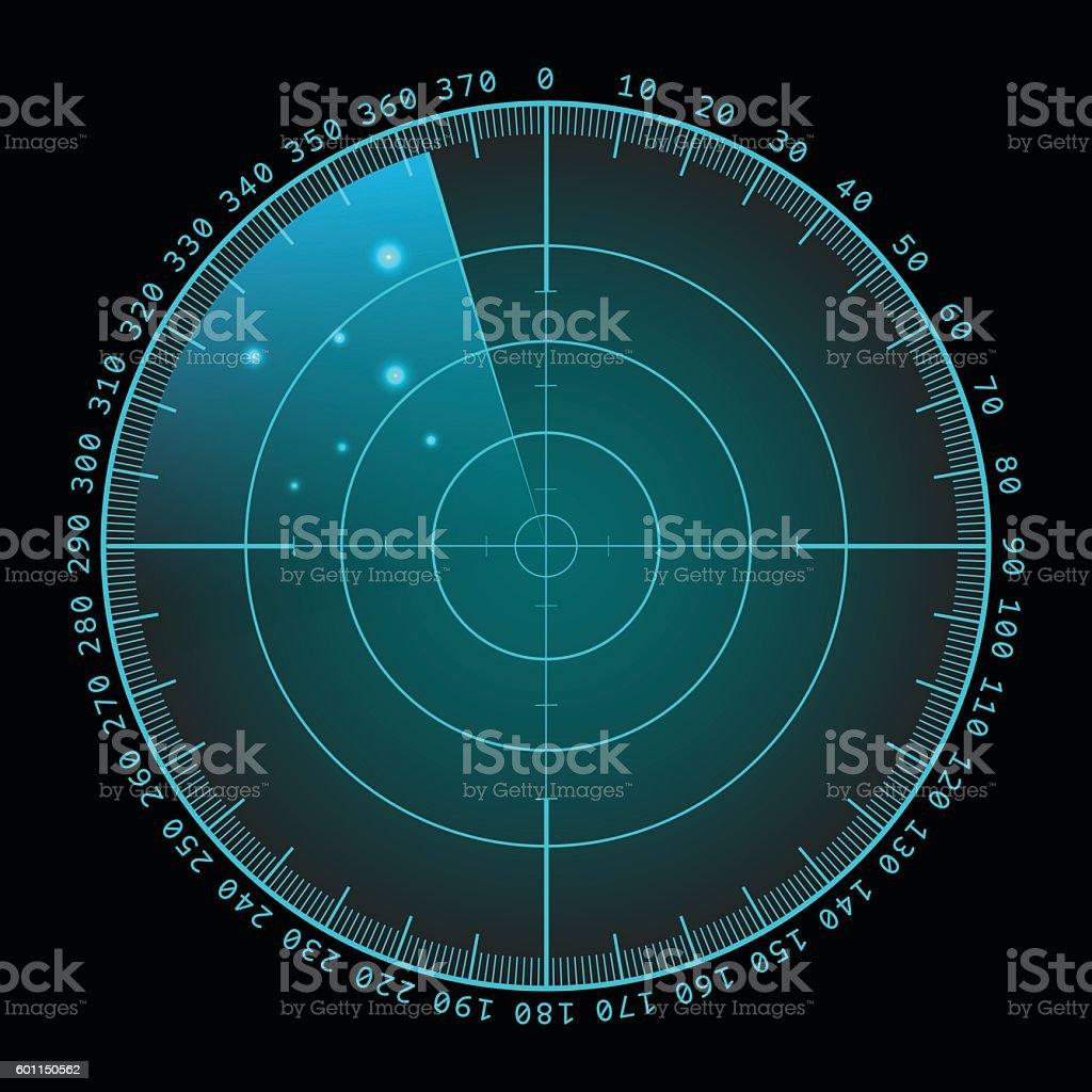 Military green radar screen with target. Futuristic HUD interface. Stock vector art illustration