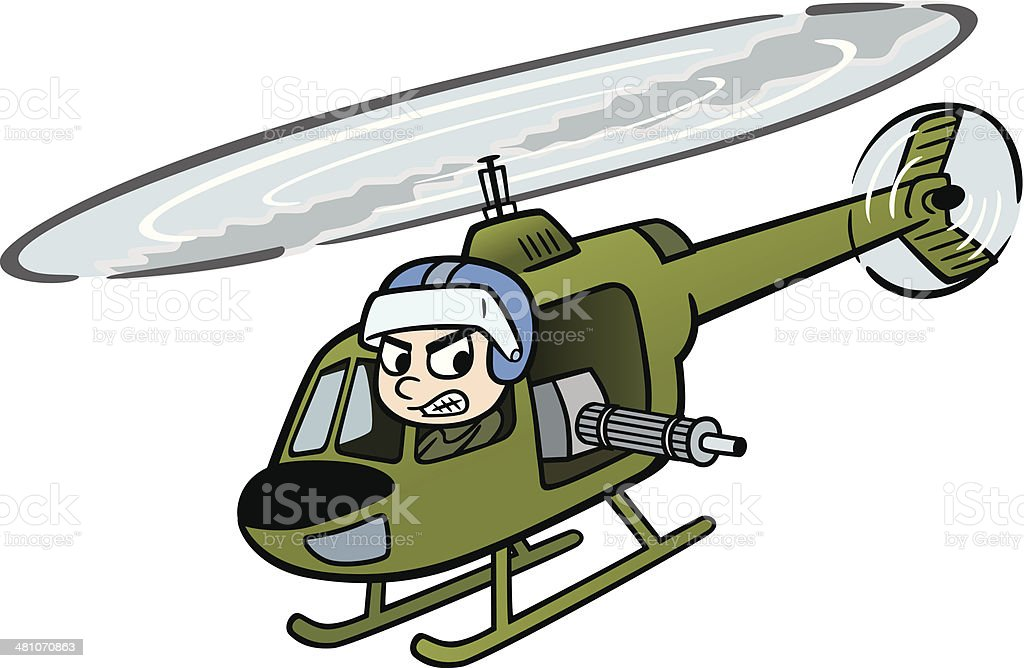 Military Helicopter Pilot vector art illustration