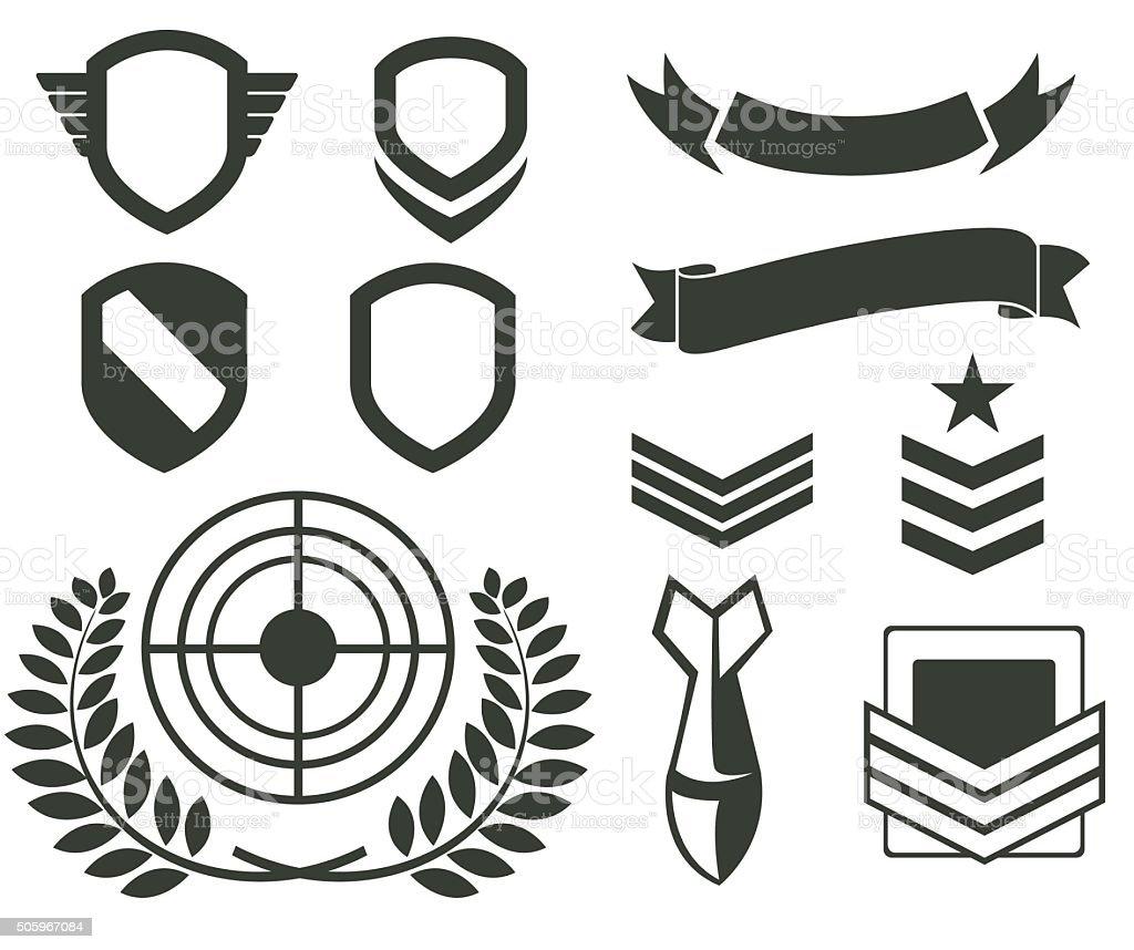 Military icon set vector art illustration
