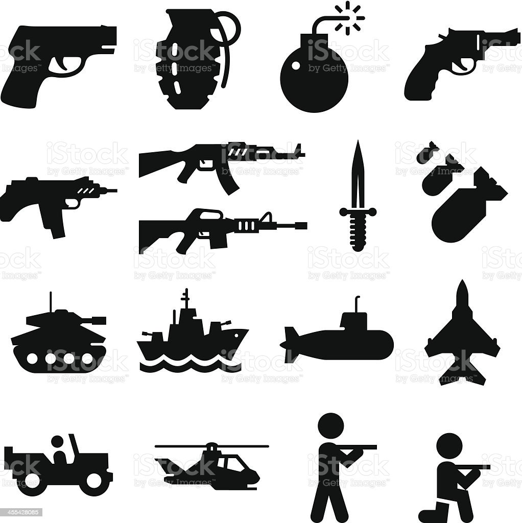 Military Icons - Black Series vector art illustration
