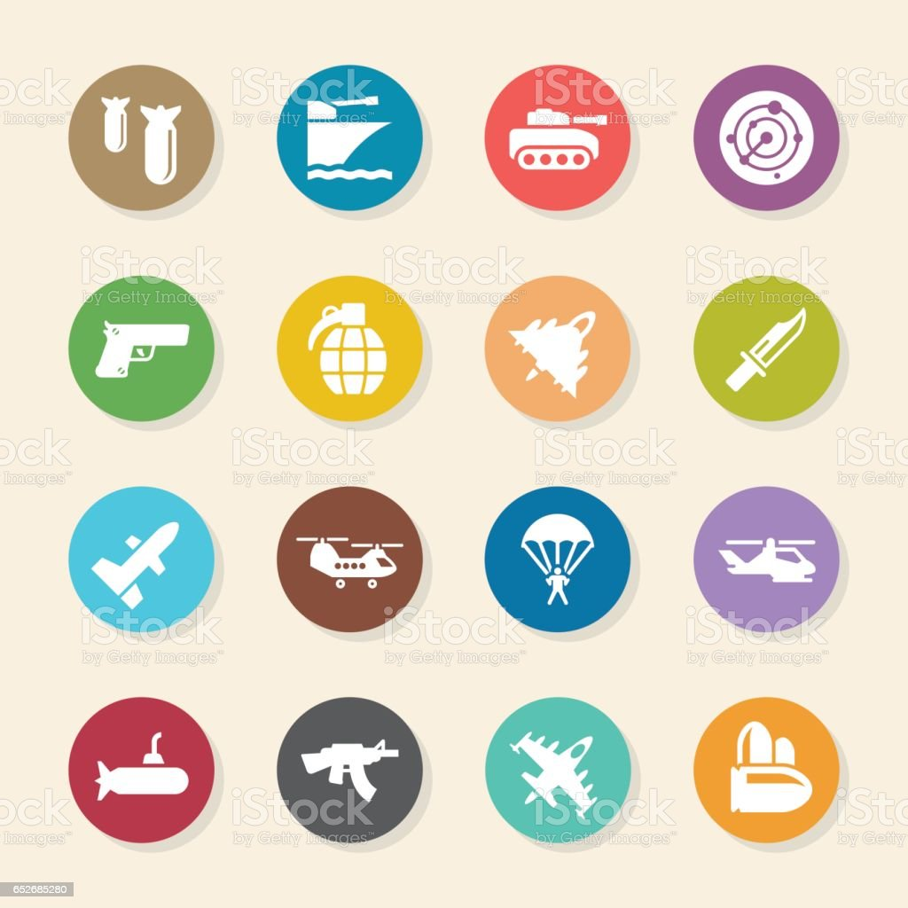 Military Icons - Color Circle Series vector art illustration
