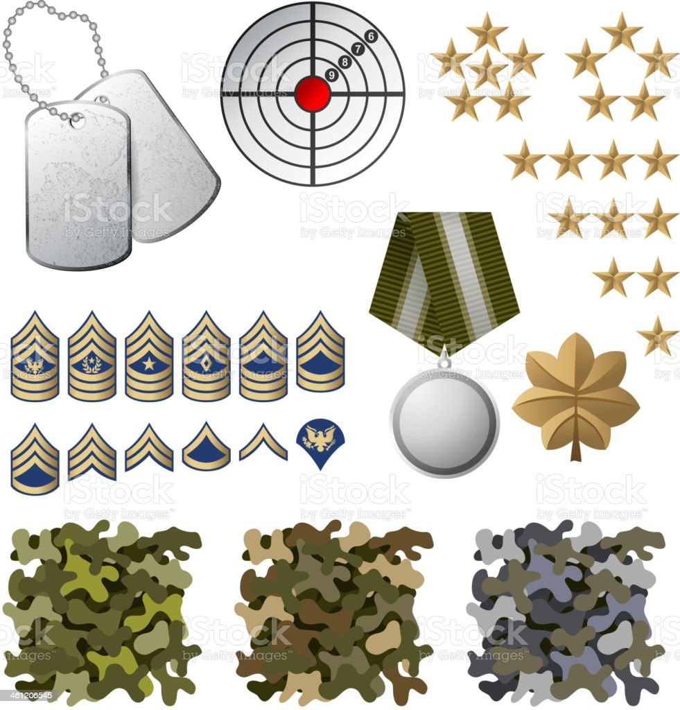 Military icons including camouflage and dog tags vector art illustration