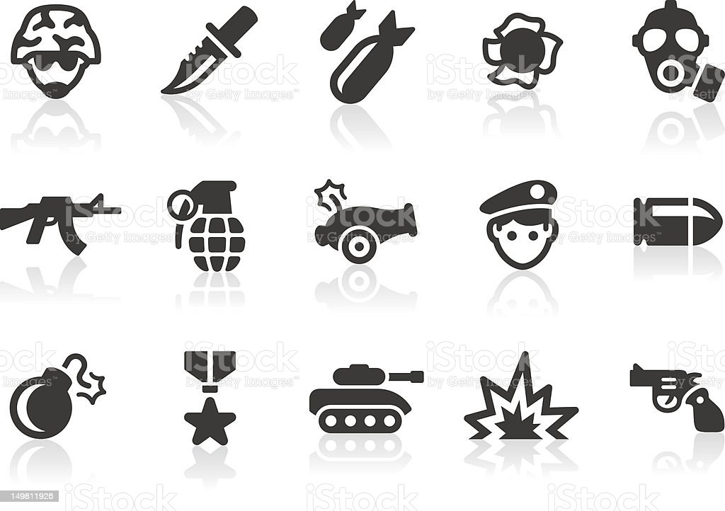 Military icons vector art illustration