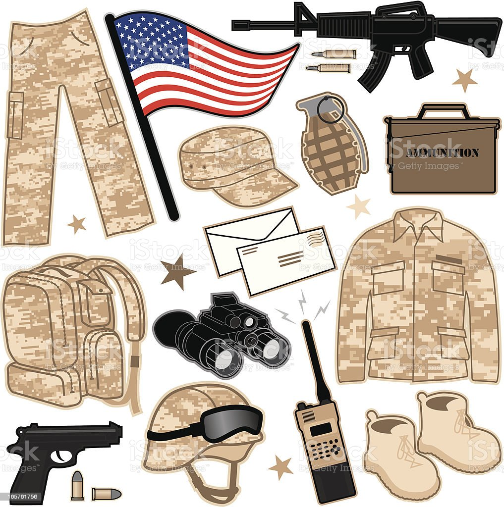 Military Items vector art illustration