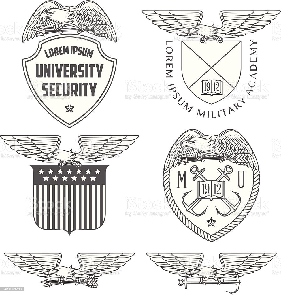 Military labels, badges and design elements vector art illustration