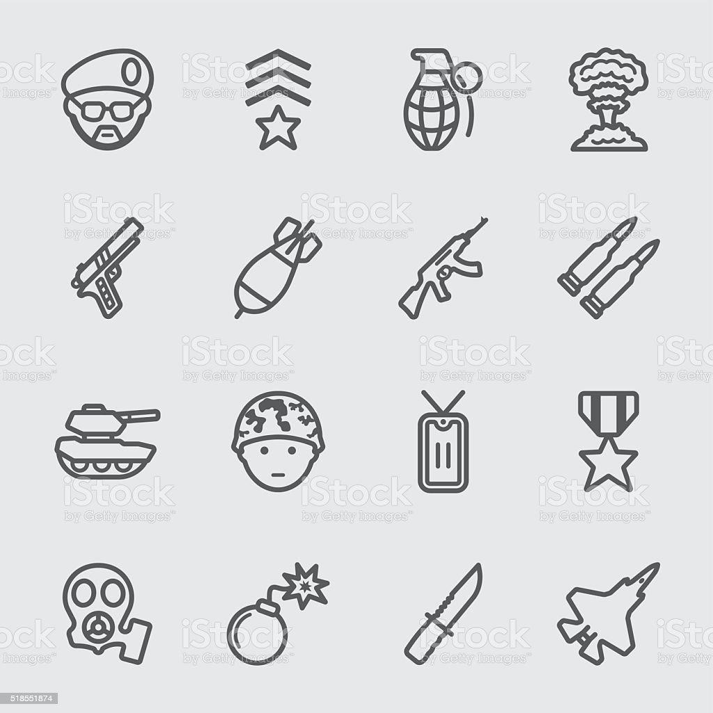 Military line icon vector art illustration