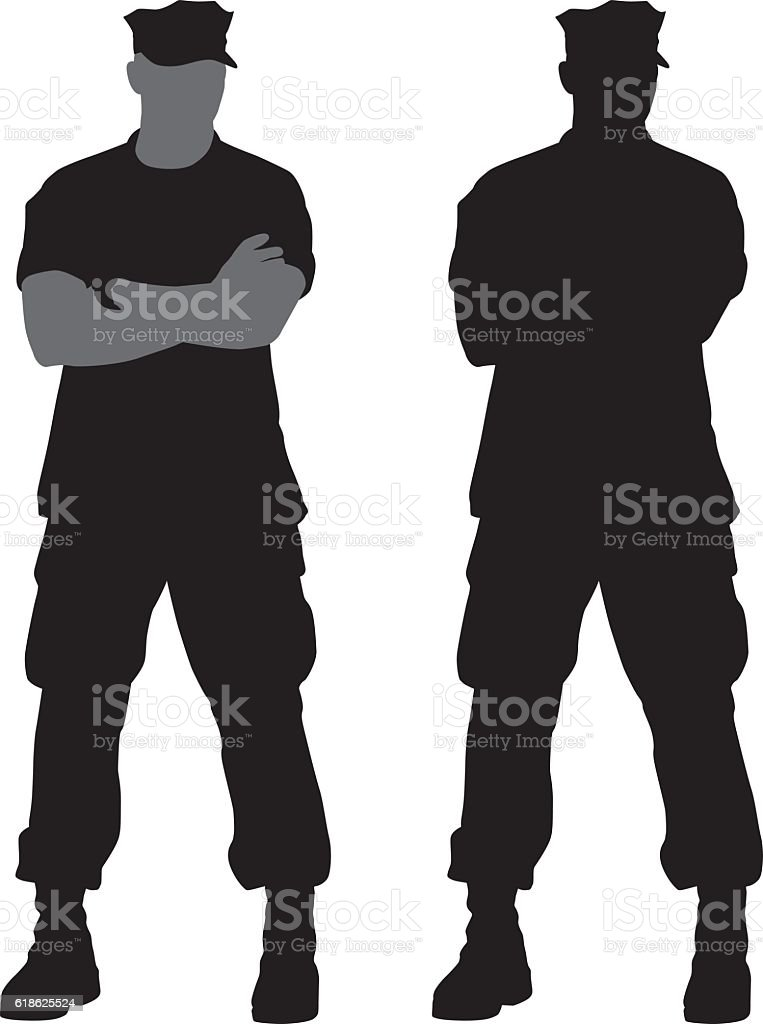 Military Man Silhouettes vector art illustration
