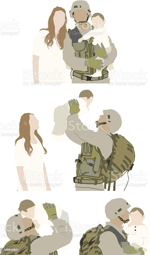Military man with family royalty-free stock vector art